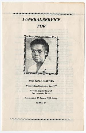 Primary view of object titled '[Funeral Program for Belle H. Brown, September 14, 1977]'.