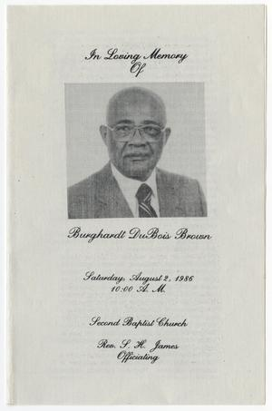 Primary view of object titled '[Funeral Program for Burghardt DuBois Brown, August 2, 1986]'.