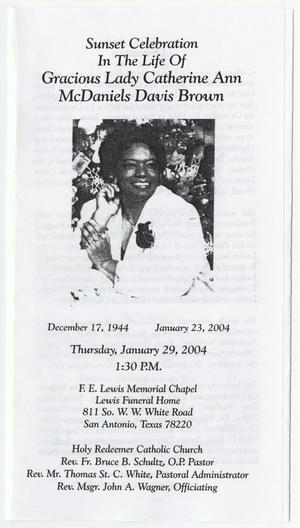 Primary view of object titled '[Funeral Program for Catherine Ann McDaniels Davis Brown, January 29, 2004]'.