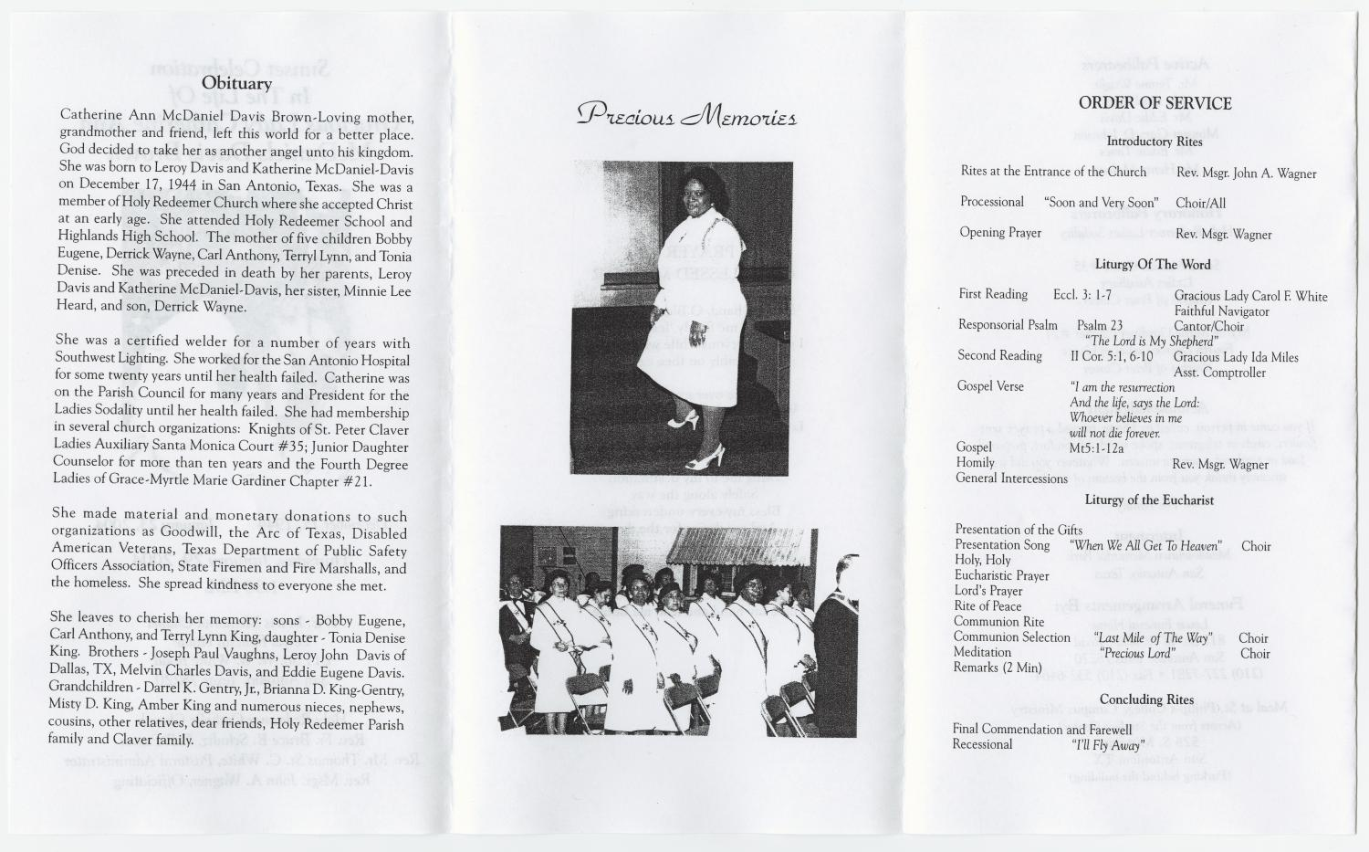 [Funeral Program for Catherine Ann McDaniels Davis Brown, January 29, 2004]                                                                                                      [Sequence #]: 2 of 3