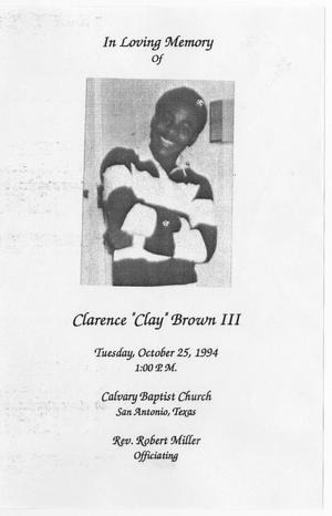 [Funeral Program for Clarence Brown, III, October 25, 1994]