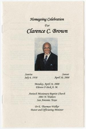 Primary view of object titled '[Funeral Program for Clarence C. Brown, April 14, 2008]'.