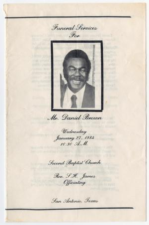 Primary view of object titled '[Funeral Program for Daniel Brown, January 27, 1984]'.