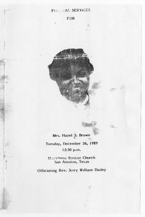 Primary view of object titled '[Funeral Program for Hazel B. Brown, December 26, 1989]'.