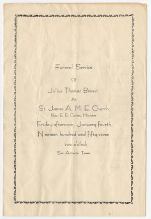 Primary view of object titled '[Funeral Program for Julius Thomas Brown, January 4, 1957]'.