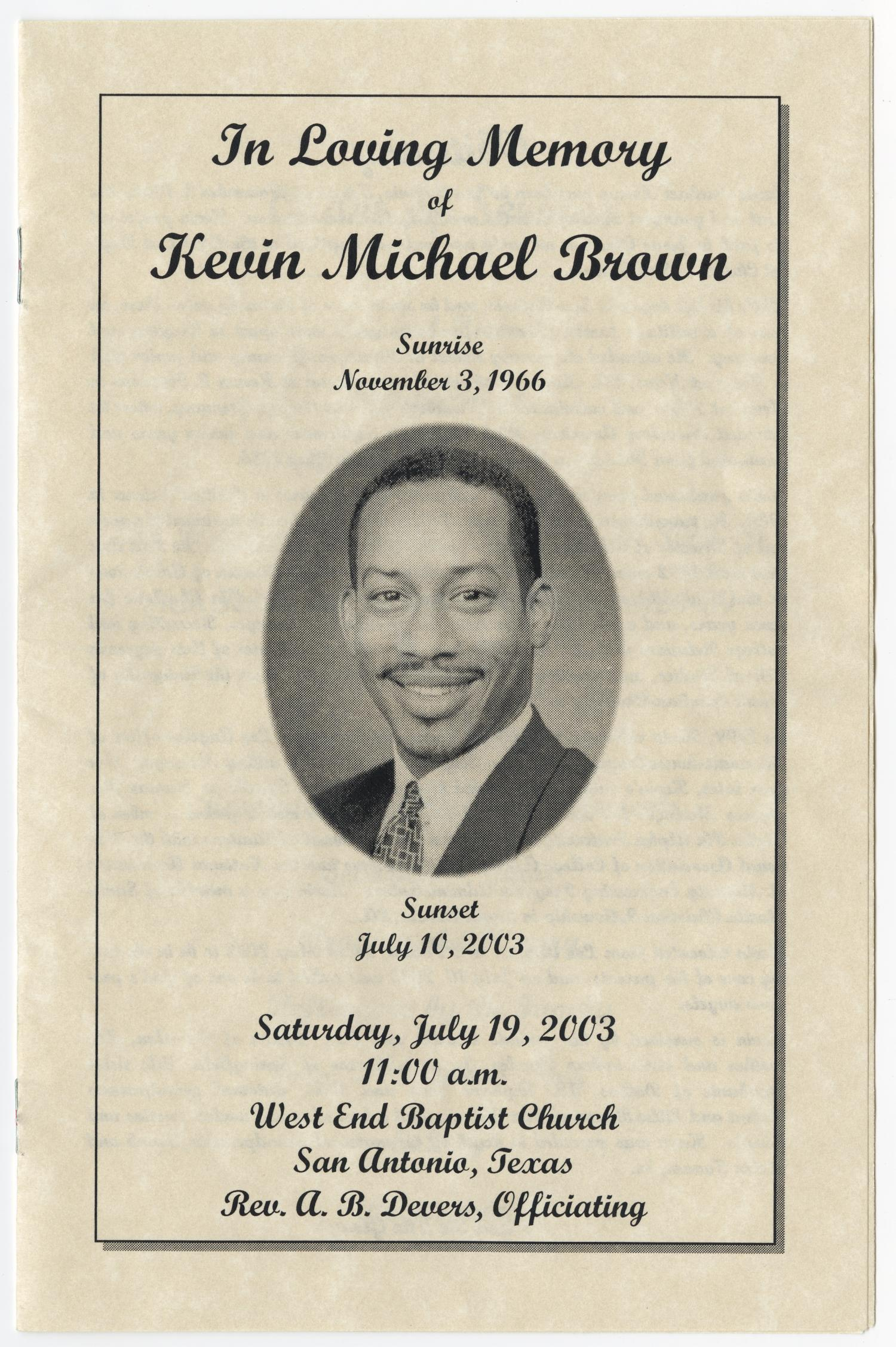 Funeral Program For Kevin Michael Brown July 19 2003
