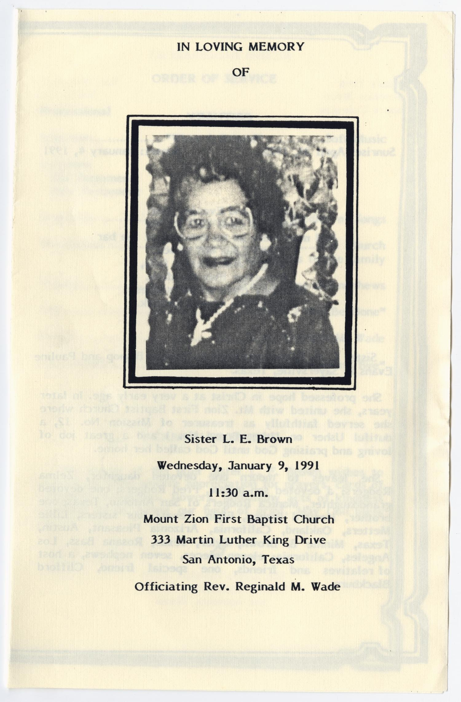 [Funeral Program for L. E. Brown, Januay 9, 1991]                                                                                                      [Sequence #]: 1 of 3