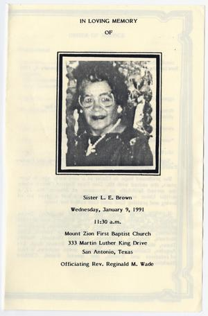 Primary view of object titled '[Funeral Program for L. E. Brown, Januay 9, 1991]'.