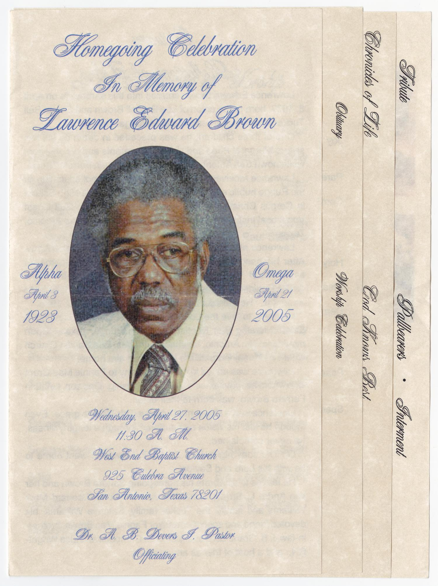 [Funeral Program for Lawrence Edward Brown, April 27, 2005]                                                                                                      [Sequence #]: 1 of 5