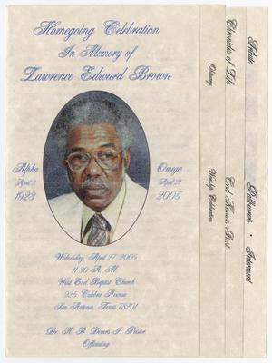 Primary view of object titled '[Funeral Program for Lawrence Edward Brown, April 27, 2005]'.