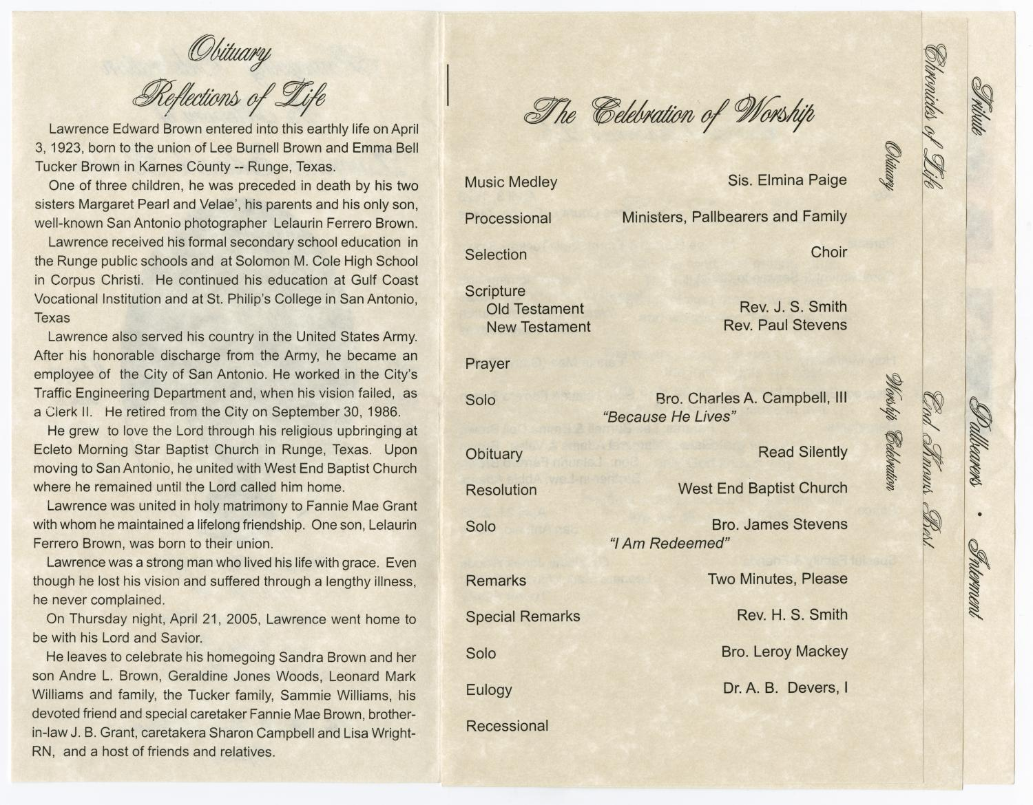 [Funeral Program for Lawrence Edward Brown, April 27, 2005]                                                                                                      [Sequence #]: 2 of 5