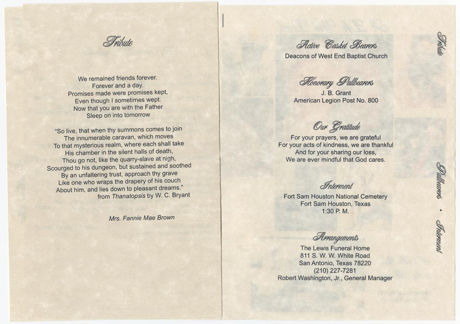 [Funeral Program for Lawrence Edward Brown, April 27, 2005]                                                                                                      [Sequence #]: 4 of 5