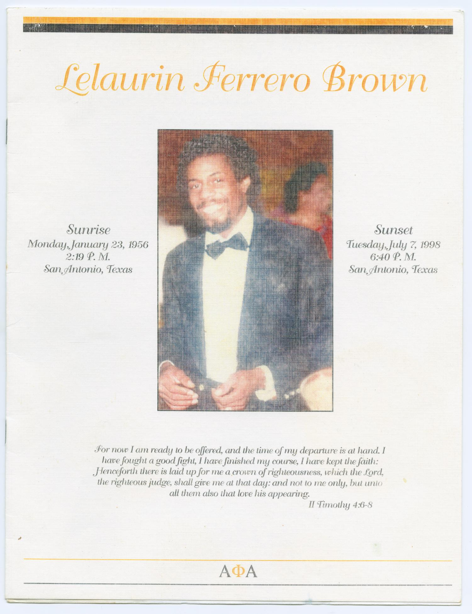 [Funeral Program for Lelaurin Ferrero Brown, July 11, 1998]                                                                                                      [Sequence #]: 1 of 8
