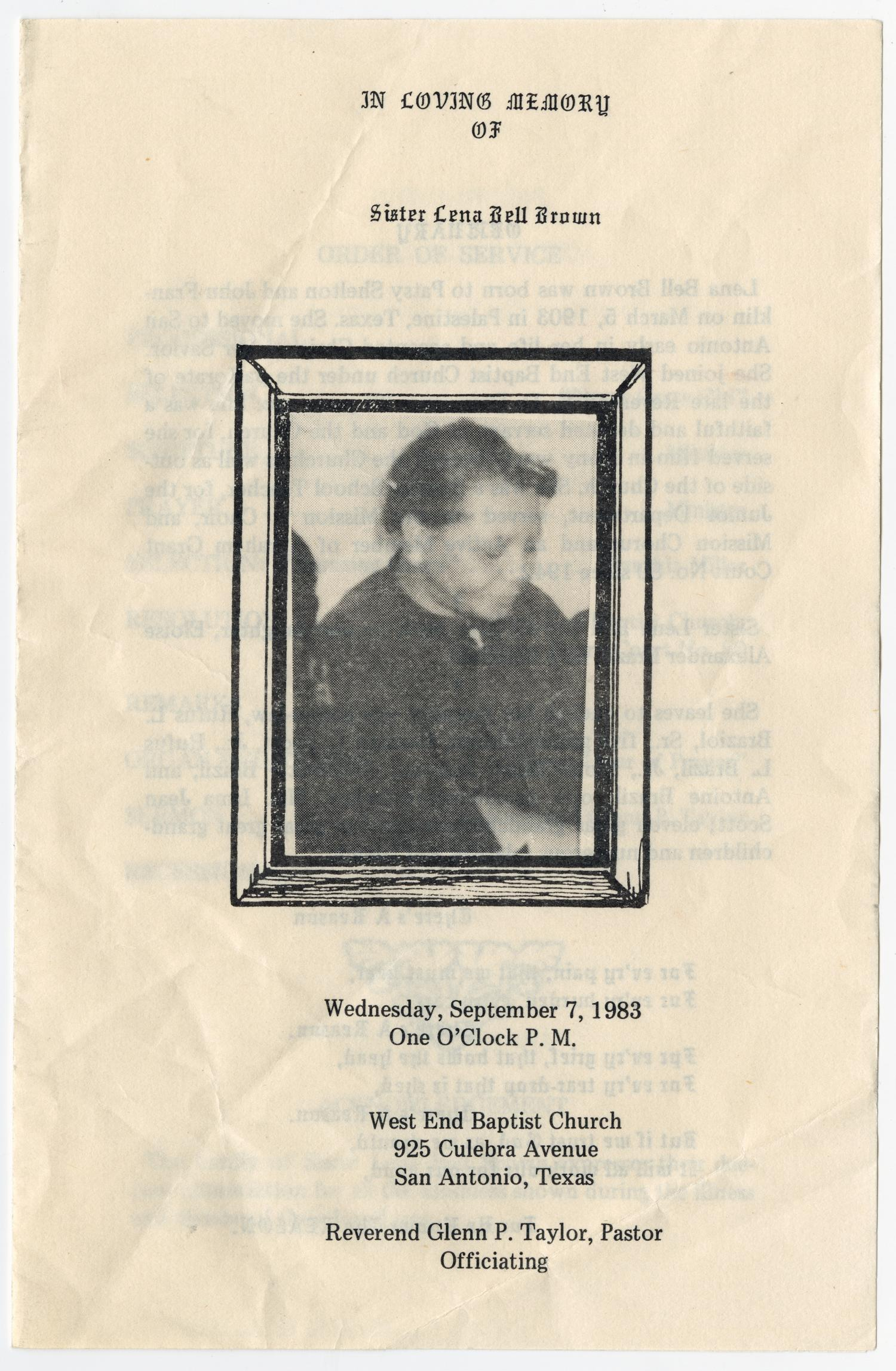 [Funeral Program for Lena Bell Brown, September 7, 1983]                                                                                                      [Sequence #]: 1 of 3