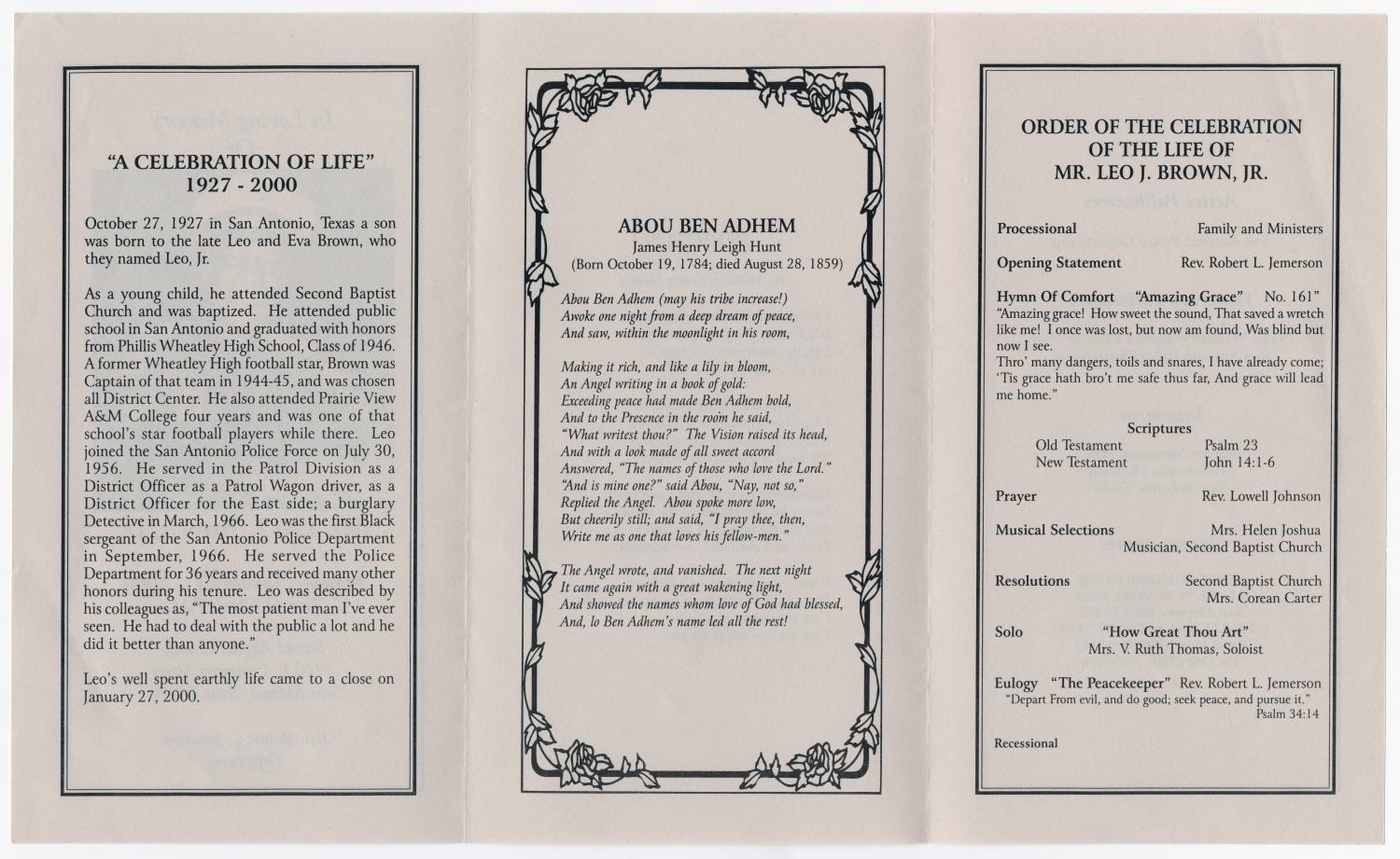 [Funeral Program for Leo J. Brown, Jr., January 31, 2000]                                                                                                      [Sequence #]: 2 of 3