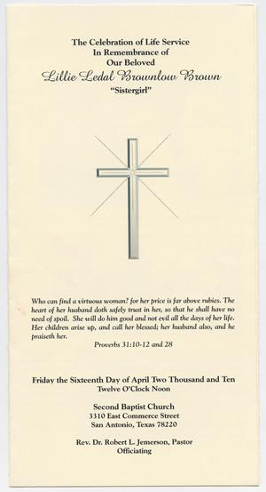 Primary view of object titled '[Funeral Program for Lillie Ledal Brownlow Brown, April 16, 2010]'.