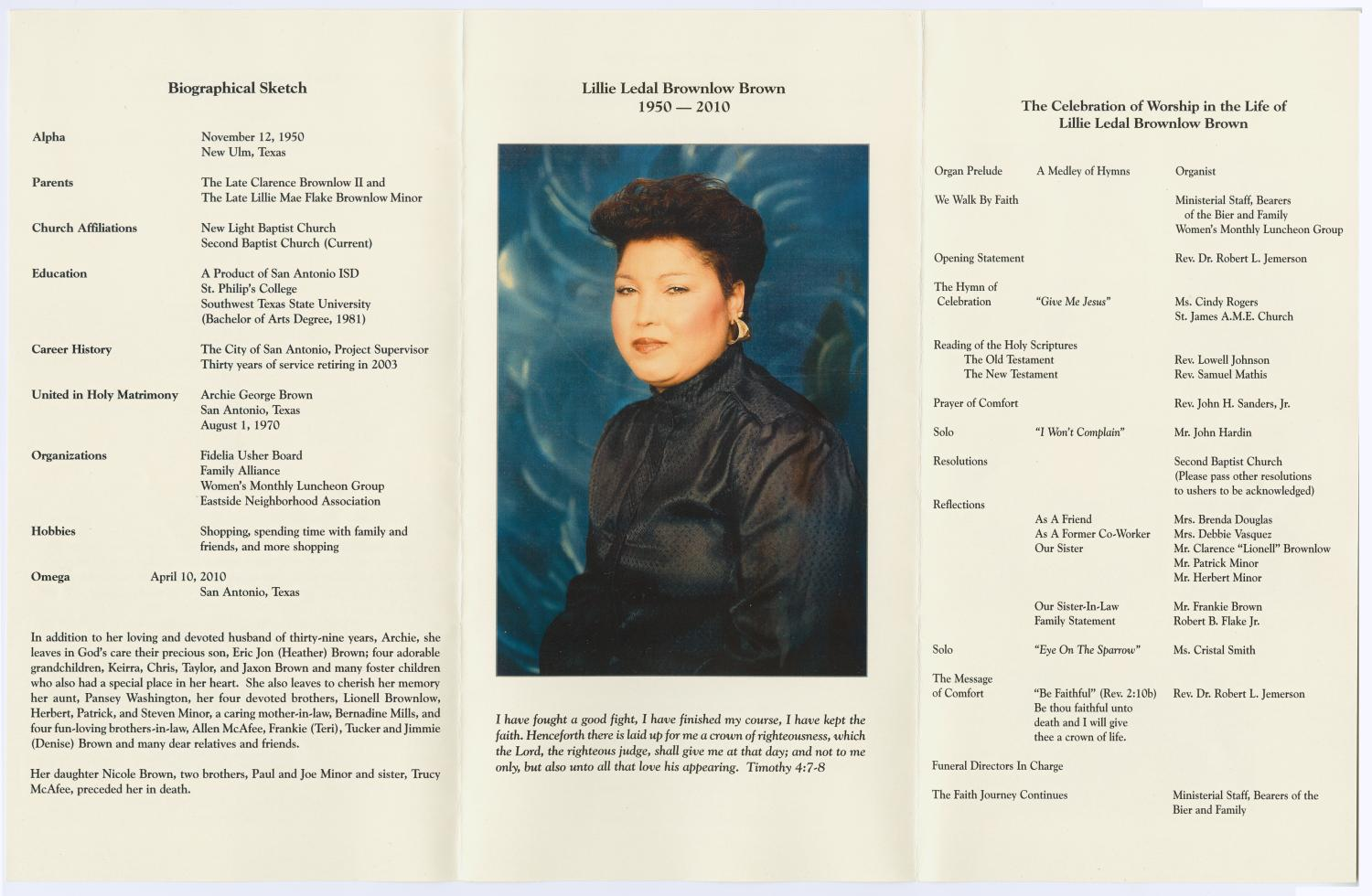 [Funeral Program for Lillie Ledal Brownlow Brown, April 16, 2010]                                                                                                      [Sequence #]: 2 of 3