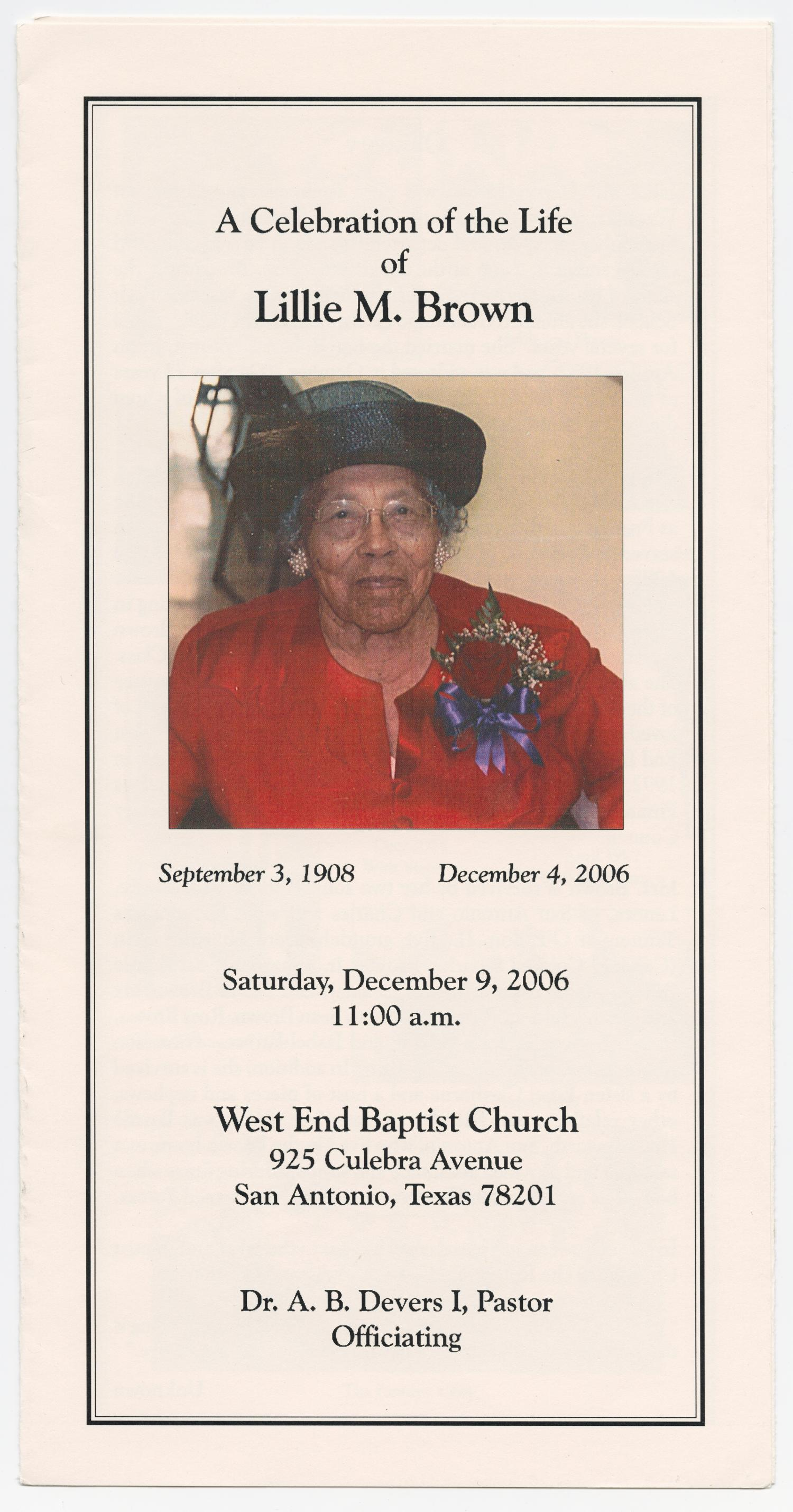 [Funeral Program for Lillie M. Brown, December 9, 2006]                                                                                                      [Sequence #]: 1 of 3