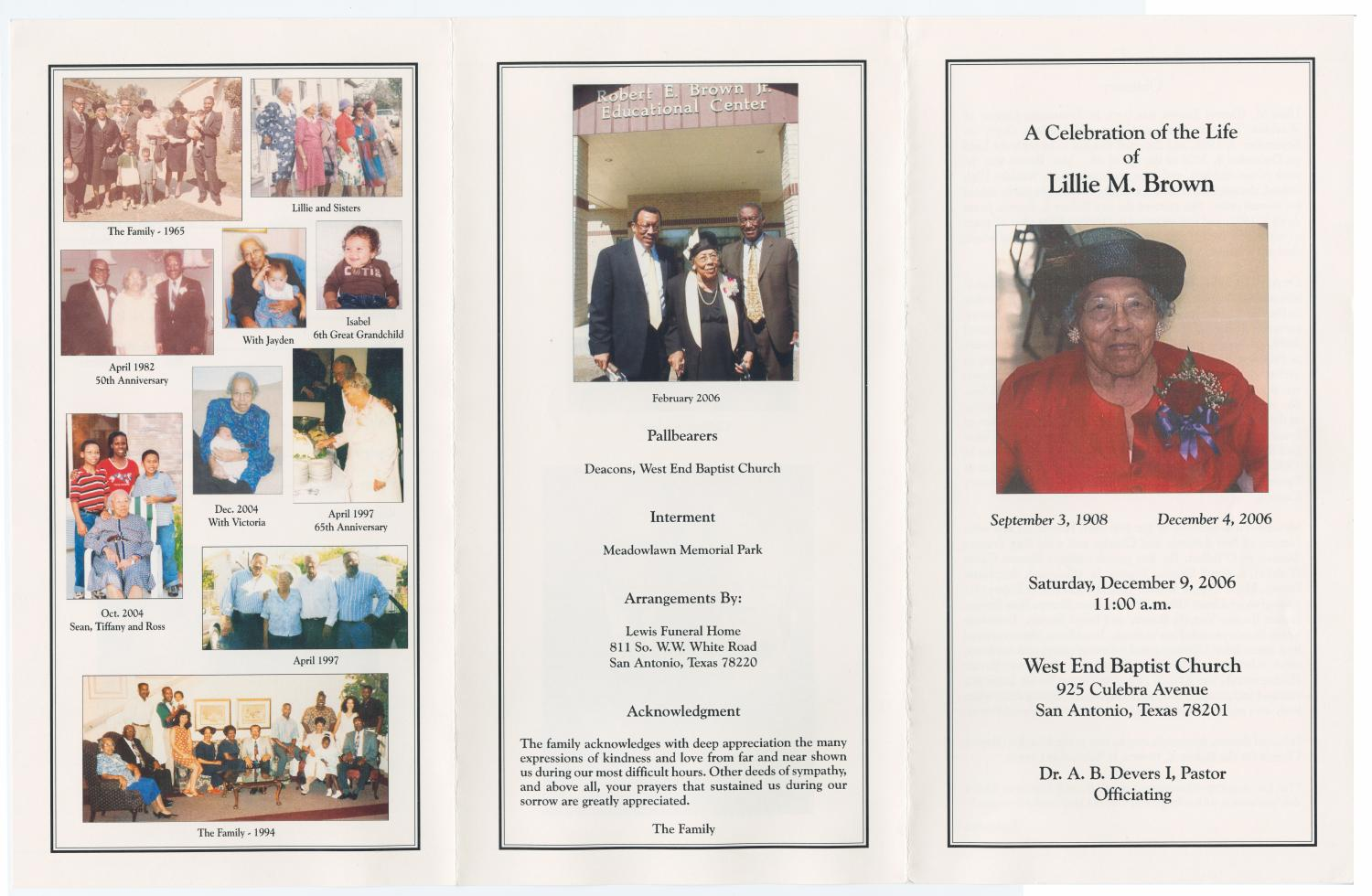 [Funeral Program for Lillie M. Brown, December 9, 2006]                                                                                                      [Sequence #]: 3 of 3