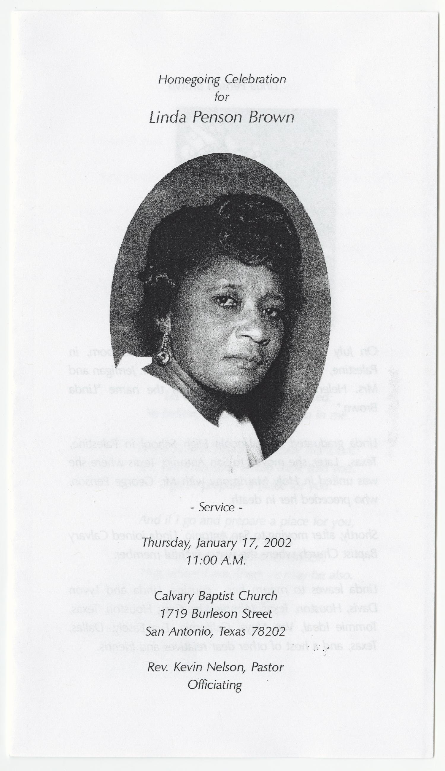 [Funeral Program for Linda Penson Brown, January 17, 2002]                                                                                                      [Sequence #]: 1 of 3
