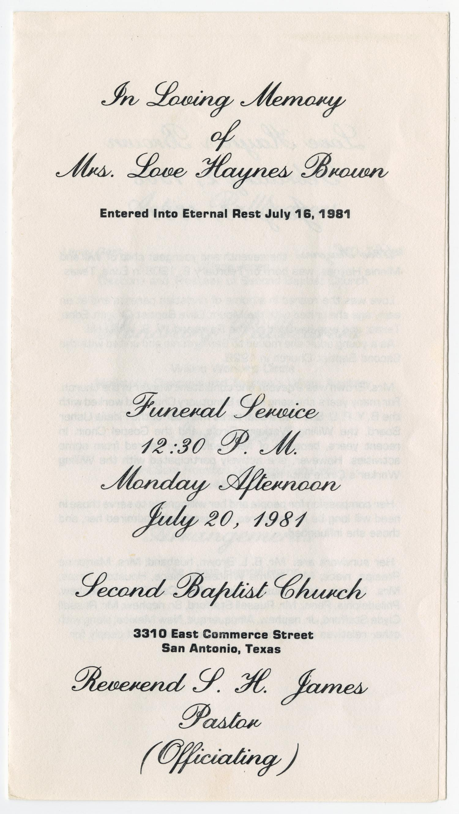 [Funeral Program for Love Haynes Brown, July 20, 1981]                                                                                                      [Sequence #]: 1 of 3