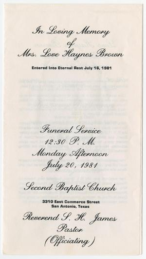 Primary view of object titled '[Funeral Program for Love Haynes Brown, July 20, 1981]'.