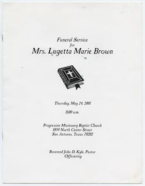 Primary view of object titled '[Funeral Program for Lugetta Marie Brown, May 24, 2001]'.