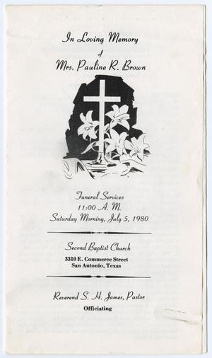 Primary view of object titled '[Funeral Program for Pauline R. Brown, July 5, 1980]'.
