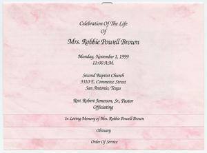 Primary view of object titled '[Funeral Program for Robbie Powell Brown, November 1, 1999]'.
