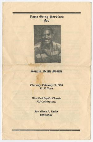 Primary view of object titled '[Funeral Program for Ronald Keith Brown, February 15, 1990]'.