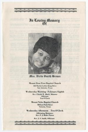 Primary view of object titled '[Funeral Program for Virtie Smith Brown, February 8, 1979]'.