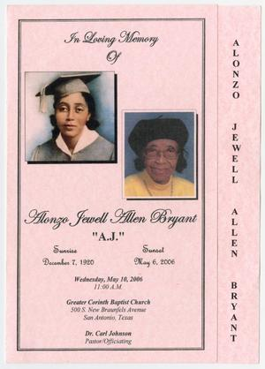 [Funeral Program for Alonzo Jewell Allen Bryant, May 10, 2006]
