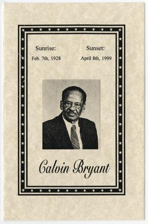 Primary view of object titled '[Funeral Program for Calvin Bryant, April 14, 1999]'.