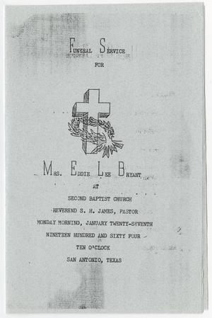 Primary view of object titled '[Funeral Program for Eddie Lee Bryant, January 27, 1964]'.