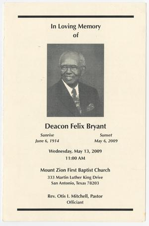 Primary view of object titled '[Funeral Program for Felix Bryant, May 13, 2009]'.