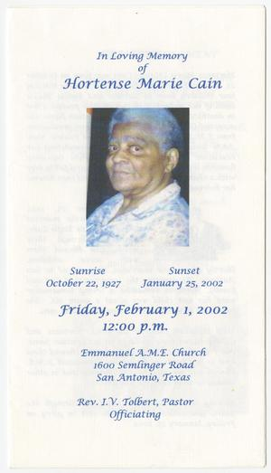 Primary view of object titled '[Funeral Program for Hortense Marie Cain, February 1, 2002]'.
