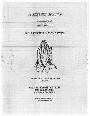 [Funeral Program for Bettie Mae Calvert, December 23, 1999]