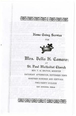 Primary view of object titled '[Funeral Program for Bella H. Cameron, September 10, 1966]'.