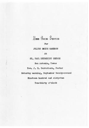 Primary view of object titled '[Funeral Program for Julius Smith Cameron, September 22, 1962]'.