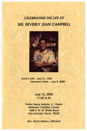 [Funeral Program for Beverly Jean Campbell, July 12, 2006]