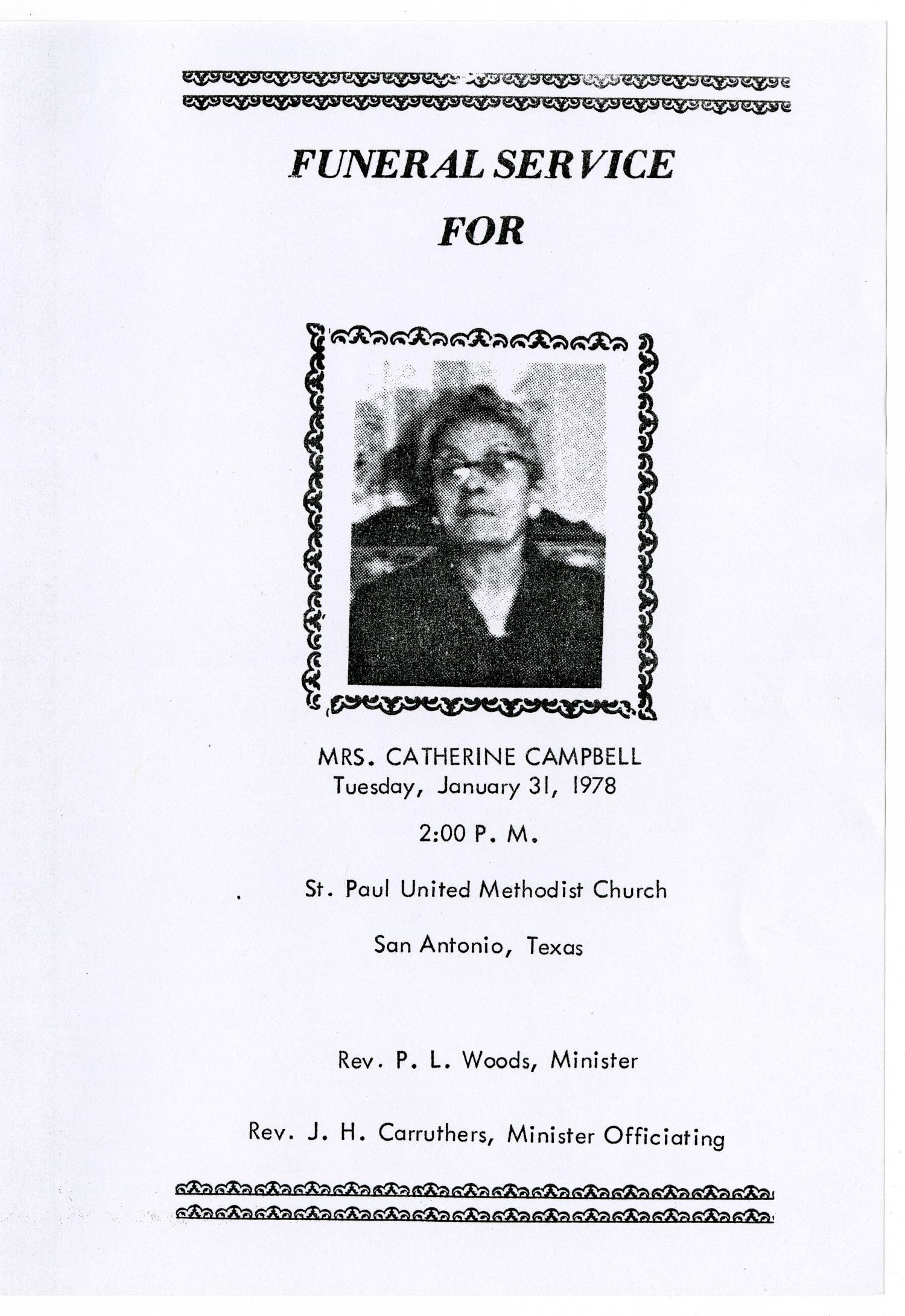 [Funeral Program for Catherine Campbell, January 31, 1978]                                                                                                      [Sequence #]: 1 of 3