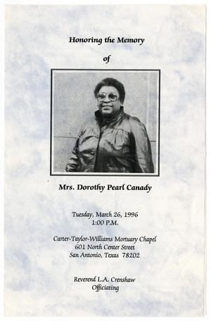 Primary view of object titled '[Funeral Program for Dorothy Pearl Canady, March 26, 1996]'.