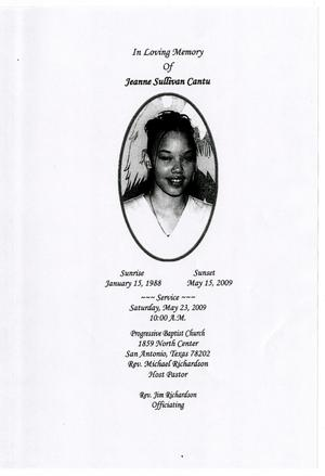 Primary view of object titled '[Funeral Program for Jeanne Sullivan Cantu, May 23, 2009]'.