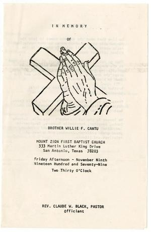 Primary view of object titled '[Funeral Program for Willie F. Cantu, November 9, 1979]'.