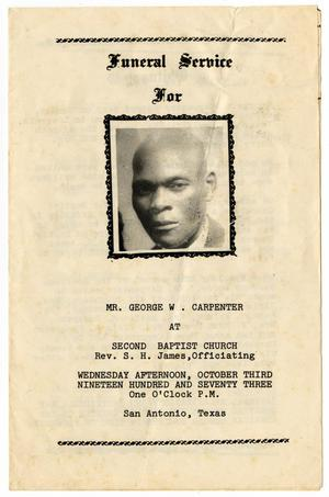 Primary view of object titled '[Funeral Program for George W. Carpenter, October 3, 1973]'.