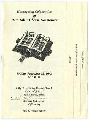 [Funeral Program for John Glenn Carpenter, February 13, 1998]