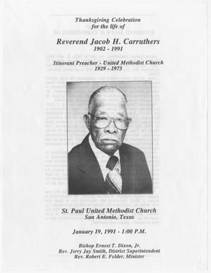 Primary view of object titled '[Funeral Program for Jacob H. Carruthers, January 19, 1991]'.