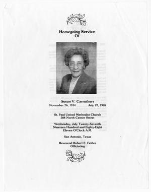 Primary view of object titled '[Funeral Program for Susan V. Carruthers, July 27, 1988]'.