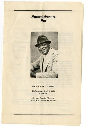 Primary view of object titled '[Funeral Program for Wesley H. Carson, April 1, 1979]'.