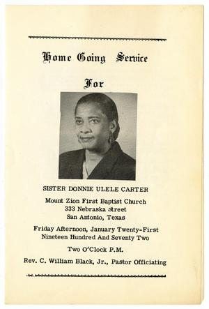 Primary view of object titled '[Funeral Program for Donnie Ulele Carter, January 21, 1972]'.